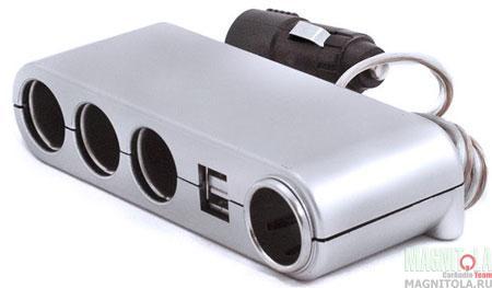Разветвитель автомобильного прикуривателя INTEGO C-06 (серебро)