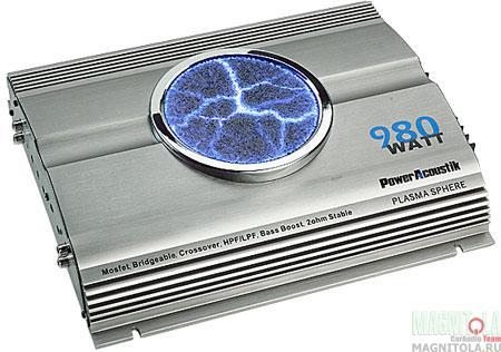 """Усилитель оснащен круглым дисплеем с пульсирующими светящимися  """"разрядами """".  Схема усиления баса bass boost 0-18 дБ."""
