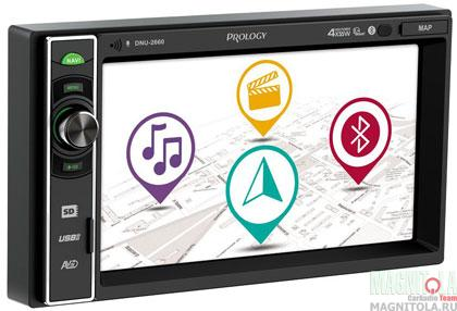 2DIN мультимедийный бездисковый ресивер с навигацией и поддержкой Bluetooth Prology DNU-2660