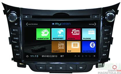 Мультимедийная система для штатной установки, с навигацией для автомобилей Hyundai i30 (2012-) MyDean 3156